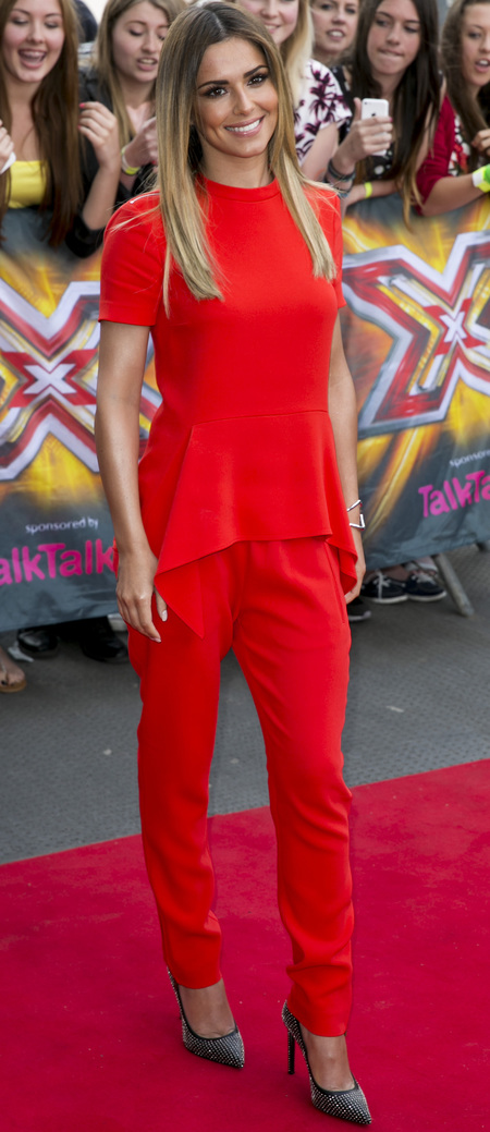 cheryl cole- x factor 2014-red trousers outfit-fashion choices-live auditions-handbag.com