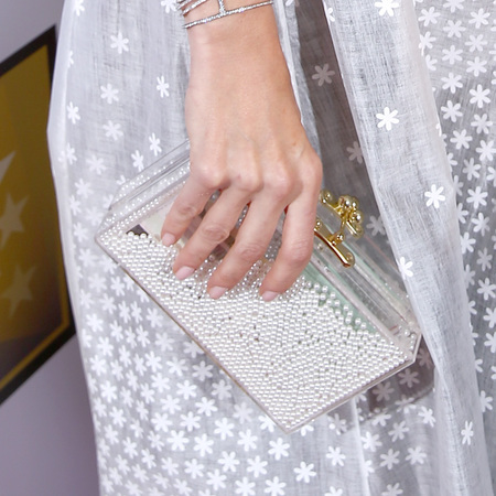 Bellamy Young - critics choice awards - white box clutch bag - handbag.com