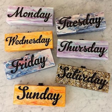 edie parker-slogan clutch bags-day of the week bags-resort 2015 designer collections-handbag.com