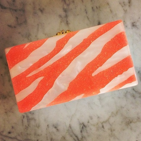 edie parker-slogan clutch bags-orange tiger print clutch bag-resort 2015 designer collections-handbag.com