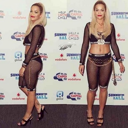 Rita Ora - Resort 15 Moschino - summer time ball - handbag.com