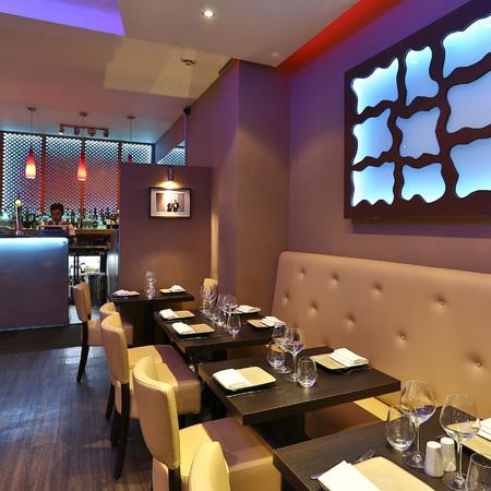 salaam namaste restaurant review - picture of interior - evening bag - handbag