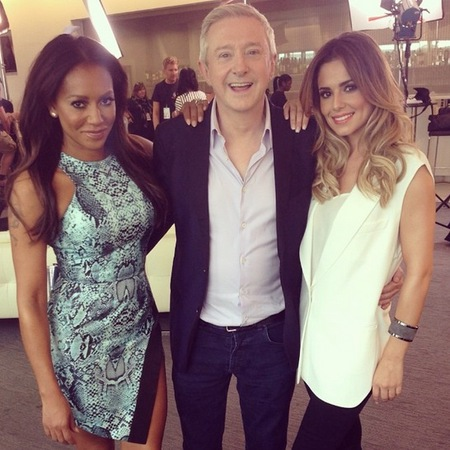 x factor 2014 live auditions-mel b-cheryl cole-louis walsh-fashion war-snake print dress-jeans and long white top-blonde hair-celebrity style-handbag.com