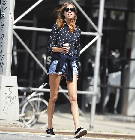 Alexa Chung - festival style - fashion ideas - denim shorts - superga - shirt - sunglasses - handbag.com