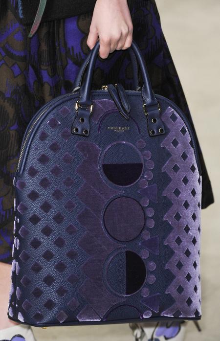 Purple leather and velvet Bloomsbury bag
