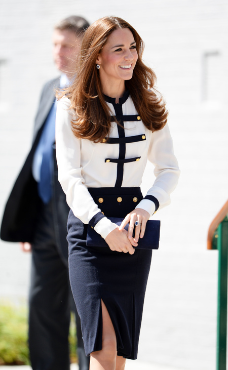 Kate Middleton - Bletchley Park - Alexander McQueen - nautical vibes - navy and white - handbag.com