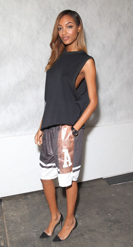 jourdan dunn in gold basketball shorts and heels - jourdan dunn is the latest celeb to wear basketball shorts - shopping bag - handbag