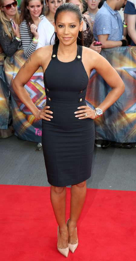 mel b- x factor 2014-navy dress with button-fashion choices-live auditions-handbag.com