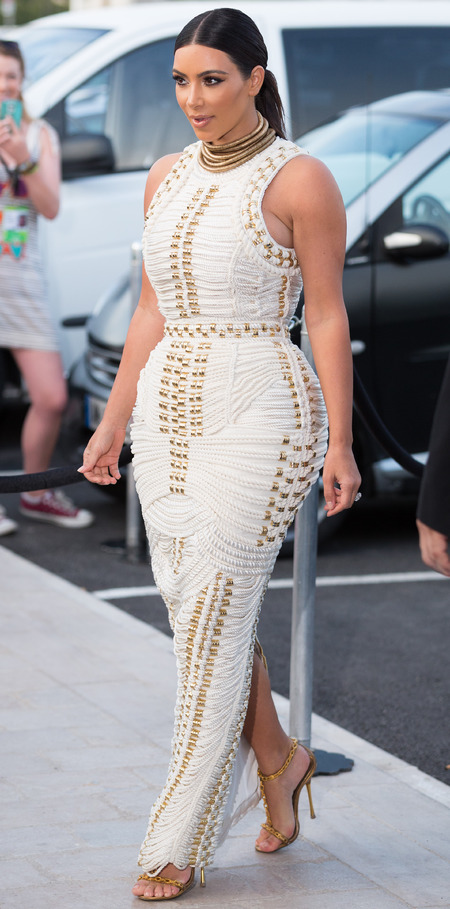 kim kardashian-white balmain dress-rope dress-aw14-celebrity fashion-wedding dress designer-mailonline cannes boat party-handbag.com