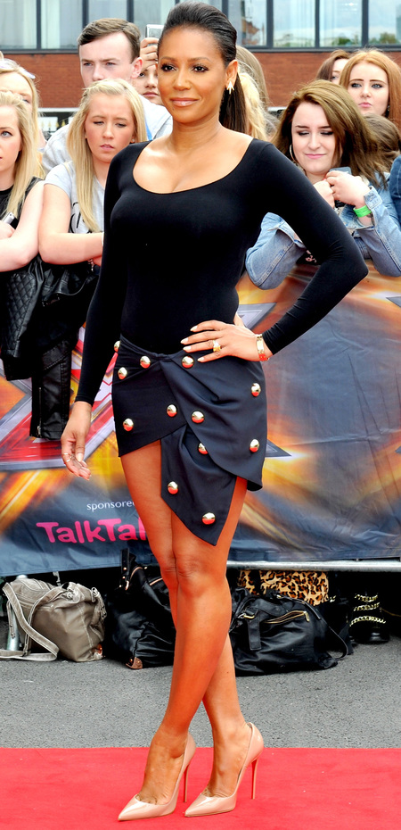 x factor 2014-manchester auditions-mel b-spice girls-navy skirt and black top-celebrity fashion war-handbag.com