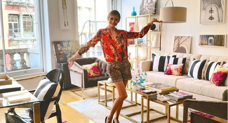 olivia palermo is now a fashion designer - olivia palermo in a stylish living room - day bag - handbag