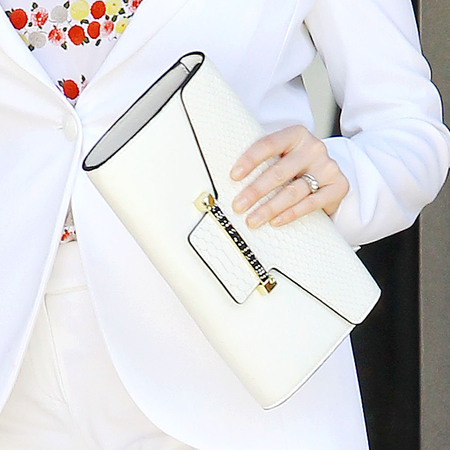 Christina Hendricks' white clutch bag