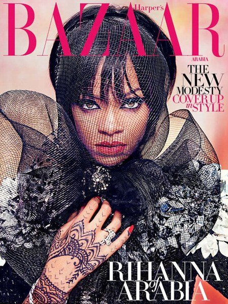 Rihanna for Harpers Bazaar Arabia - fashion magazine cover - fashion shoot - covers up - Instagram - celebrity fashion news - handbag.com