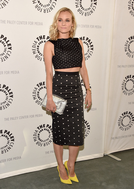 diane kruger rolland mouret crop top skirt and pierre hardy clutch - shopping bag - handbag