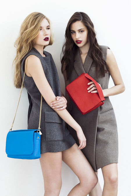 meg mathews wilby vegan handbag collection - blue and red bag - shopping bag - handbag