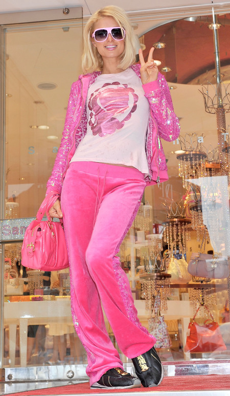Paris Hilton juicy couture tracksuit - pink tracksuit - loungewear - celebrity street style - celebrity fashion - fashion news - handbag.com