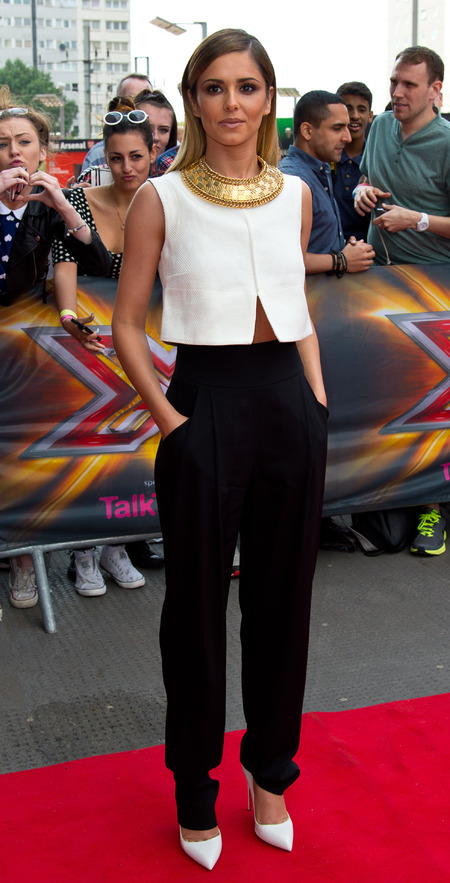 Cheryl Cole's grecian style top and high waisted trousers