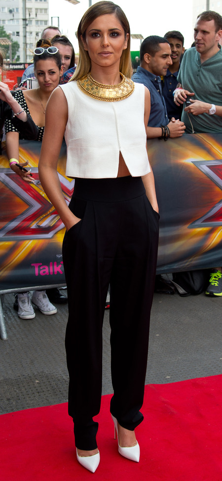 cheryl cole-x factor auditions 2014-london-black trousers-whote crop top-collar necklace-celebrity fashion-handbag.com