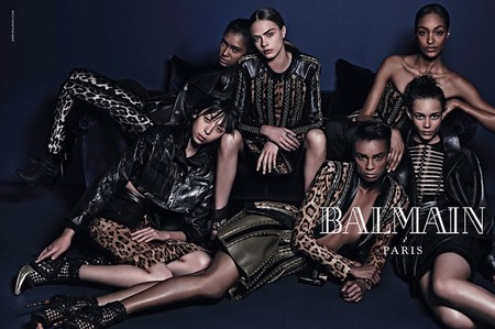 balmain-autumn winter 2014-fall 14-ad campaign-cara delevingne-jourdan dunn-handbag.com