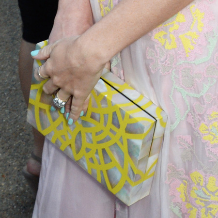 Alice Naylor Leyland-serpentine gallery summer party-yellow swirl clutch bag-handbag.com