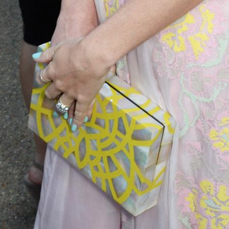 Alice Naylor Leyland-serpentine gallery summer party-yellow swirl clutch bag-handbag.com