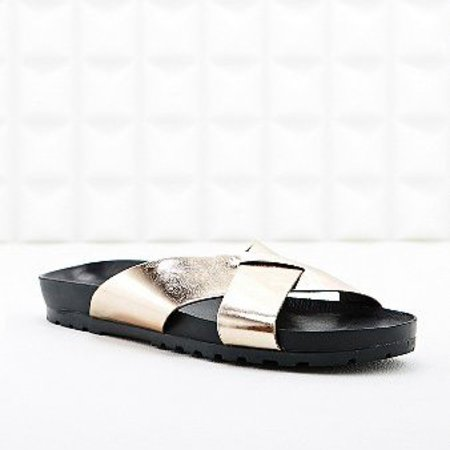 urban outfitters gold vagabond sandals - get glam slider sandals - like beyonce from high street - shopping feature - handbag.com