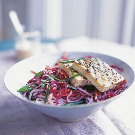 Grilled Tofu, Green Bean, Noodle & Sesame Salad Recipe - healthy eating recipe - summer salad recipe - diet recipe - gym bag - handbag.com