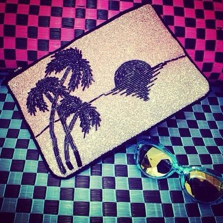 matthew williamson-tropicana clutch bag-silver glitter bag-resort 2015 collection-summer holiday clubbing outfit-handbag.com