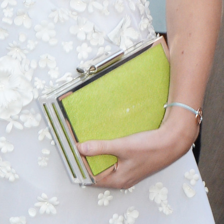 princess beatrice-serpentine gallery summer party-white dress-lime green clutch bag-handbag.com