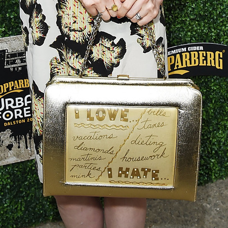sophie ellis bextor-sliver gold metallic handbag-i love-i hate-list bag-handbag.com