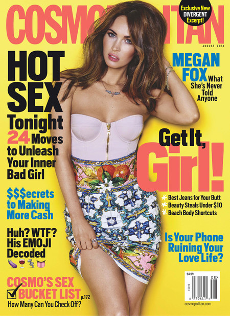 Megan Fox for the cover of Cosmopolitan July issue - Megan Fox on being sexy - Transformers film - celebrity interviews - day bag - handbag.com
