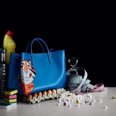 Anya Hindmarch previews Tony Tiger blue bag advertising campaign on Instagram  - new Aw14 handbags - Anya Hindmarch British designer - handbag news - handbag.com