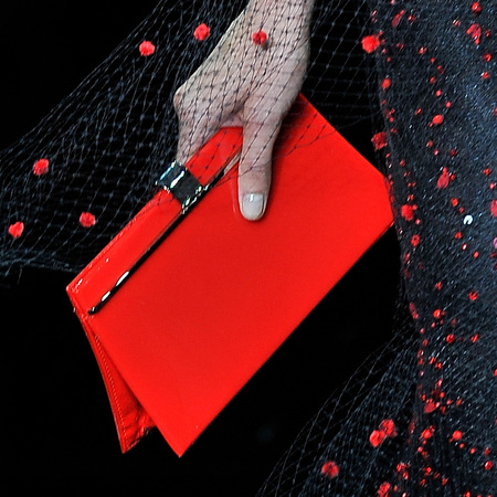 armani-red patent clutch bag-paris haute couture fashion week-autumn winter 2014-handbag.com