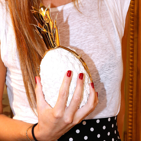 Bianca Brandolini's Osklen pineapple clutch bag