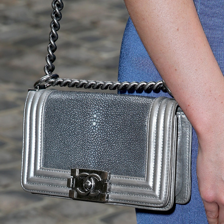 Emma Miller's silver Chanel BOY bag