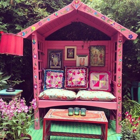 Matthew Williamson woodland party - how to throw a designer garden party - gazebo and cushions - handbag.com