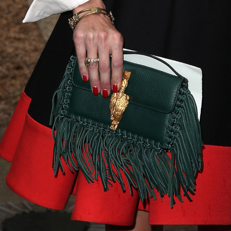 Olivia Palermo - green fringed valentino clutch bag - front row couture paris fashion week - handbag.com