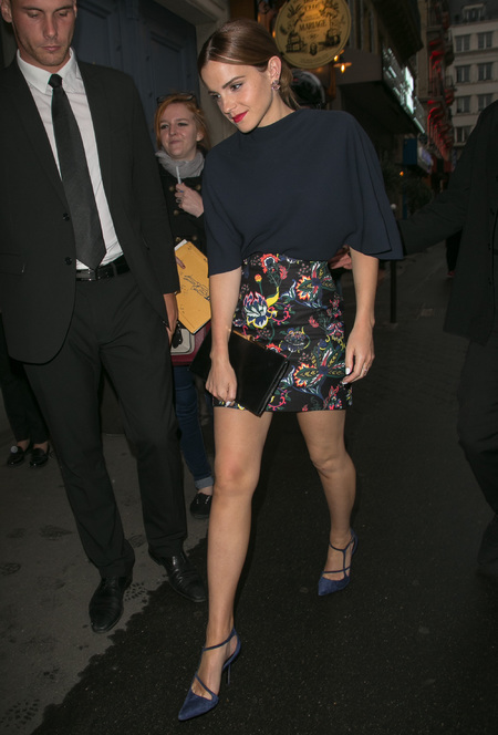 Emma Watson - Private Dior dinner - paris couture week - flower skirt - black clutch bag - handbag.com