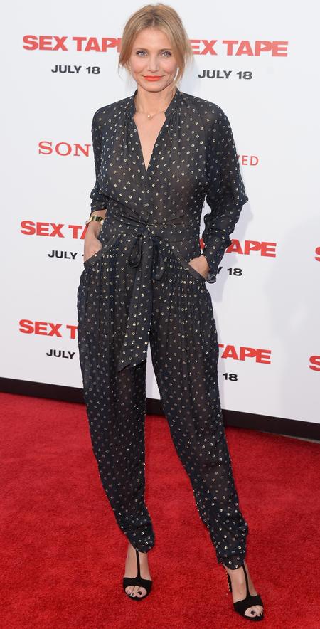 cameron diaz-jumpsuit-sex tape film screening-navy and white-onesie-celebrity fashion trend-handbag.com