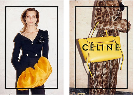 celine aw14 campaign - celine yellow bag - shopping bag - handbag
