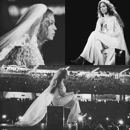 beyonce finally reveals her wedding dress - beyonce in wedding dress n stage - shopping bag - handbag