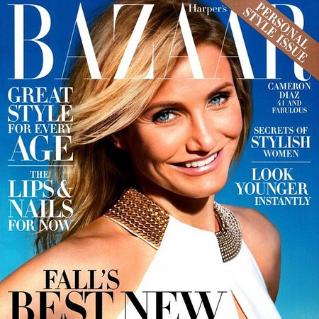 cameron diaz - front cover of harpers bazaar us magazine - won't judge sex - handbag.com
