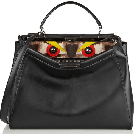 fendi peekaboo bag-black leather bag-orange monster eyes-designer handbag-karl lagerfeld-handbag.com