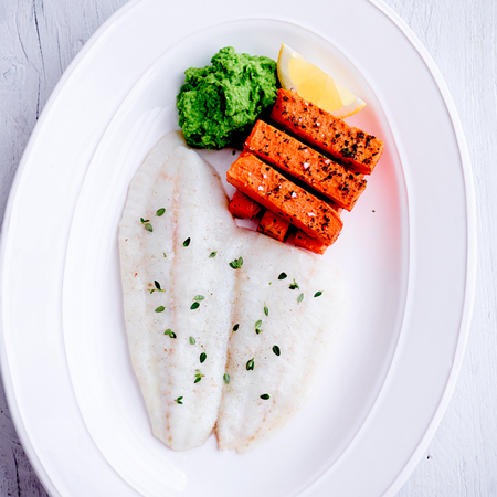 Grilled brill with sweet potato chips with mushy peas