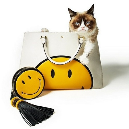 Grumpy Cat in the smiley face Anya Hindmarch bag