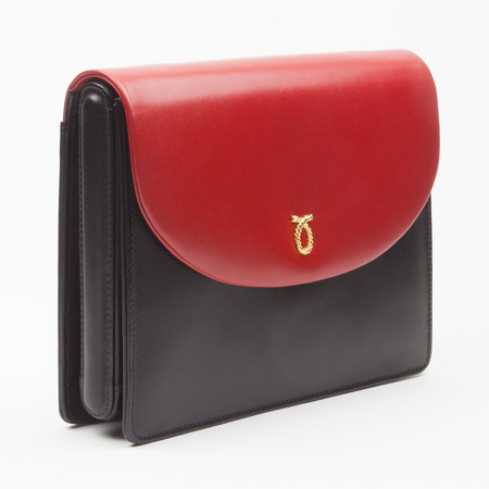 Launer Sally handbag - clutch bag - bespoke - three section bag - side on - handbag.com