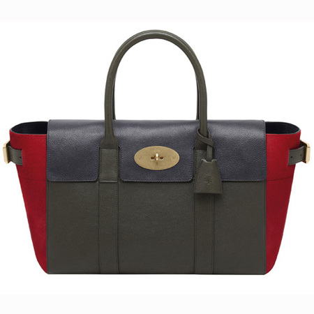 Mulberry Bayswater Buckle bag Mixed Material Poppy-Evergreen-Midnight blue - new autumn/winter 2014-handbag.com