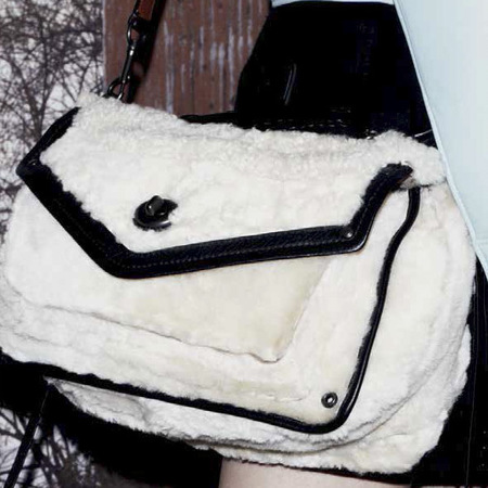 new coach handbags-stuart vevers debut collection-autumn winter 2014-ad campaign-white shearling fluffy crossbody bag-handbag.com