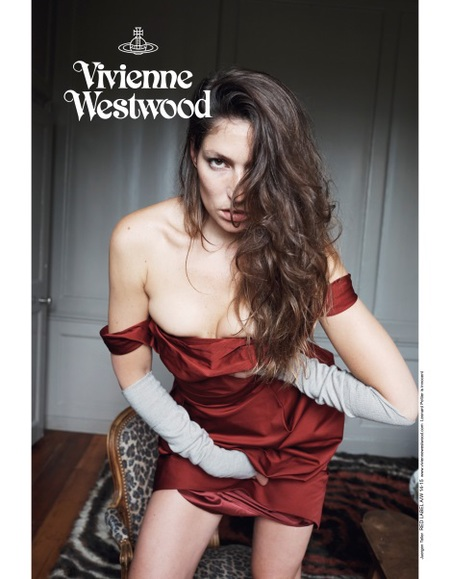 vivienne westwood-autumn winter 2014 ad campaign-stella schnabel-juergen teller-red vintage dress-handbag.com