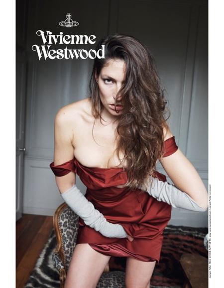 vivienne westwood-autumn winter 2014 ad campaign-stella schnabel-juergen teller-red vintage dress-handbag.com